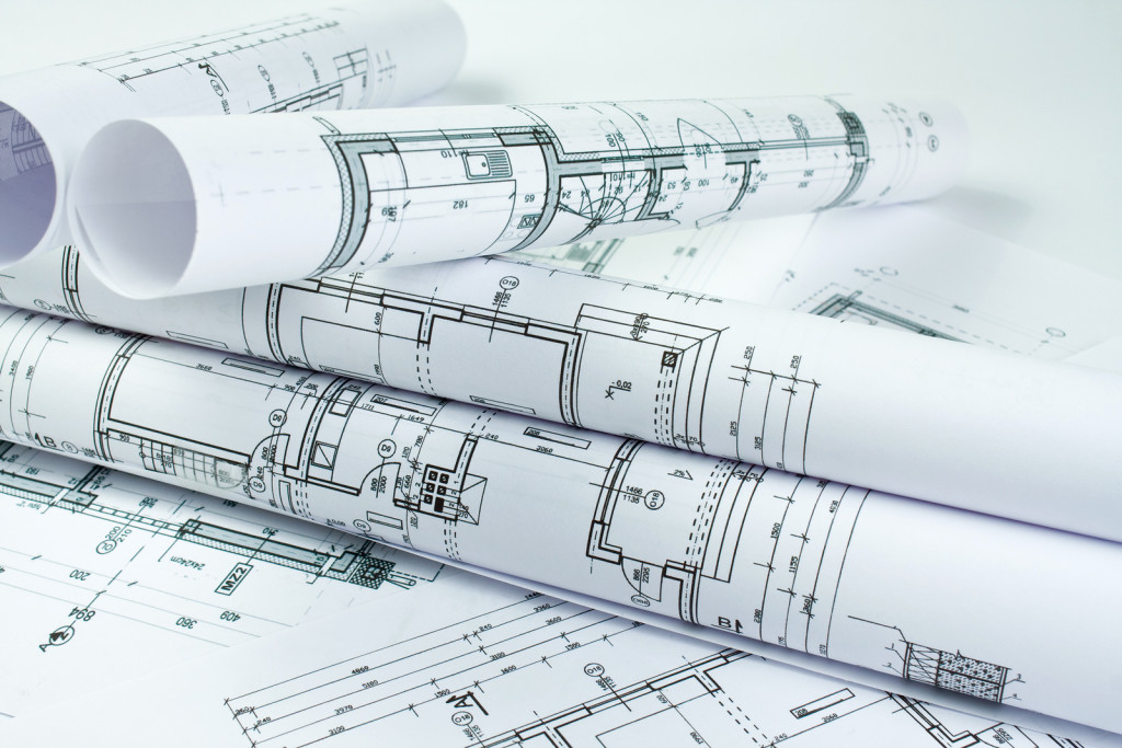 Part of architectural project, blueprint and close up